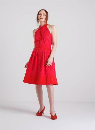 Fracomina Omuzları Açık Midi Elbise Kırmızı
